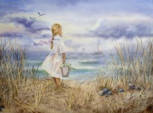 Bestselling Watercolor Painting Girl And The Ocean